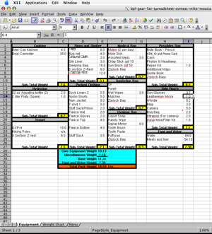 2005 Backpacking Light Trip Planning Spreadsheet Contest Entries - 11