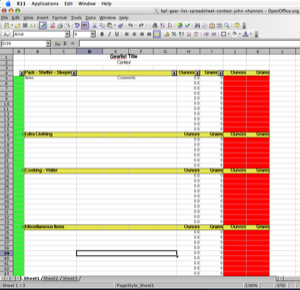 2005 Backpacking Light Trip Planning Spreadsheet Contest Entries - 16