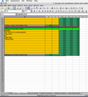 2005 Backpacking Light Trip Planning Spreadsheet Contest Entries - 4