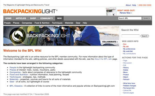 BPL Launches Wiki as Lightweight Backpacking Reference - 1