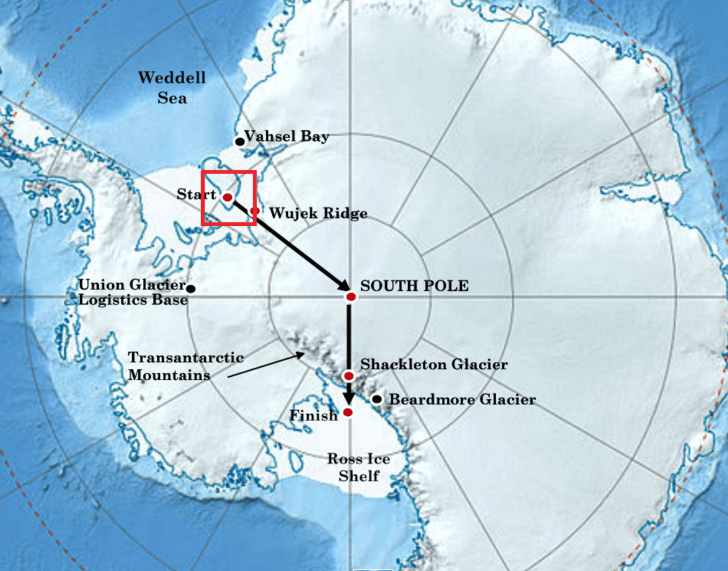 Henry Worsley attempt solo crossing of Antarctica via a route from the Weddell Sea to the Ross Ice Shelf