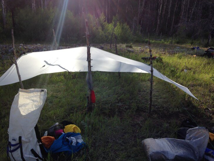Eric Vann, Oware 10x14 Flat Tarp, Meadow Bob Marshall Wilderness, Montana, 2015 Backpacking Light Staff Favorite Gear