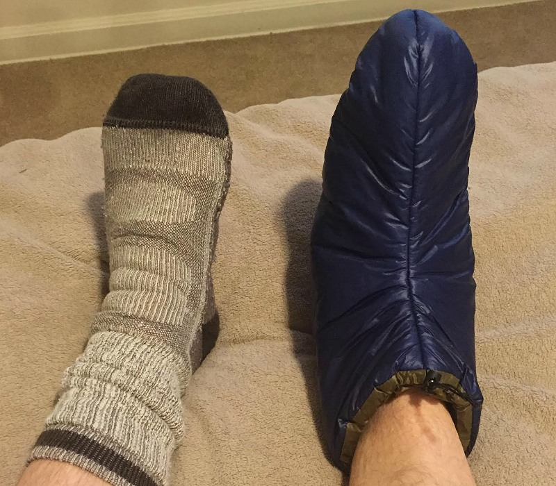 Comparing Wool Sock, EE Booties, Pete Clarke, Roger Caffin Enlightened Equipment Booties Community Review