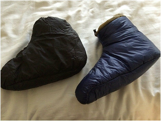 Comparing Down Booties (Left), EE Booties (right), Jennifer Mitol, Roger Caffin Enlightened Equipment Booties Community Review