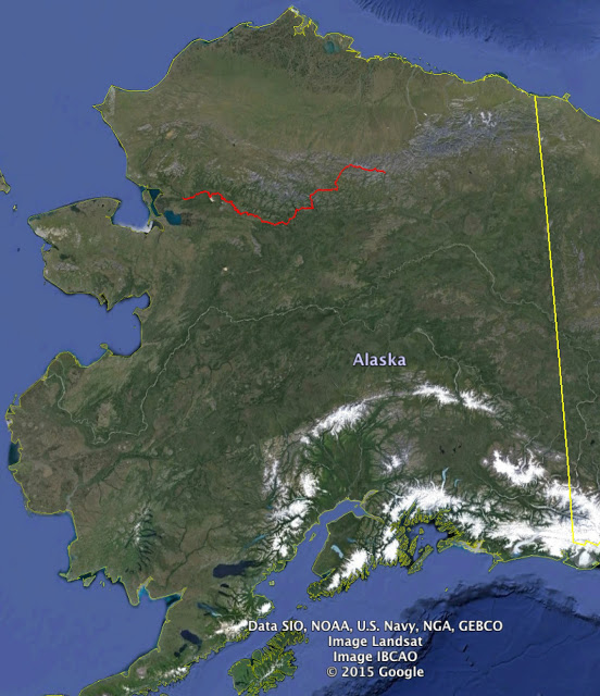 Max Neale's trek-and-packraft route through Alaska's Brooks Range.