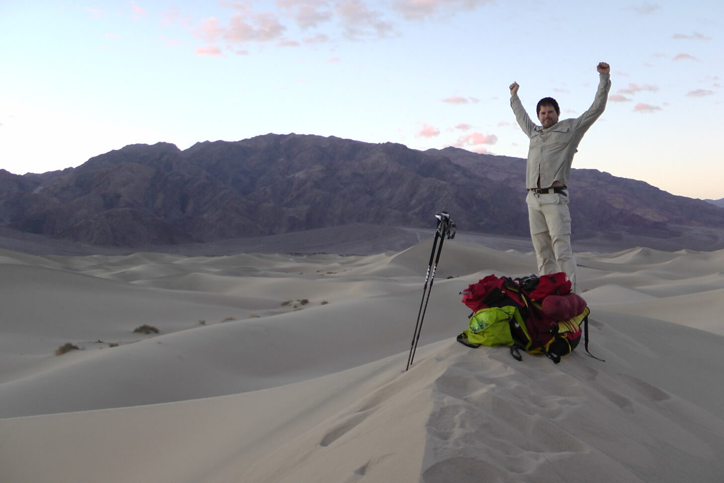 Louis-Philippe Loncke Celebrating Unsupported Death Valley Expedition
