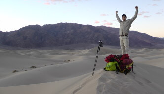 Louois-Philippe Loncke celebrating during his adventure.