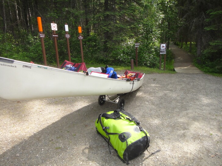 Packed, Weighed-in, Carts Portages, Doug Johnson Family Canoeing Bowron Lakes