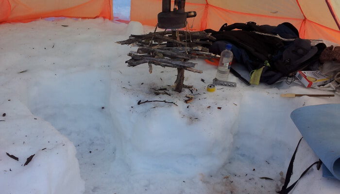 Y-Shaped Snow Pit, Tim Clarke, Micro Wood Stove, Alpine/Snow Camping, Part 4