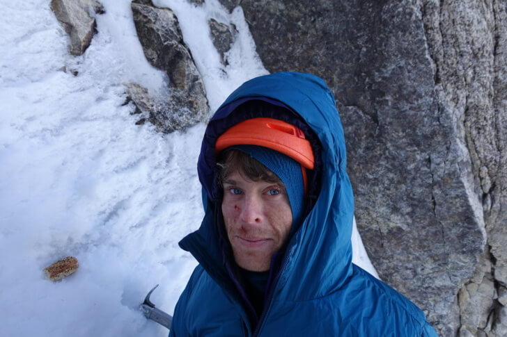Max, shaken up in the Patagonia DAS parka, after being hit in the face with chunk of ice. Shaken, not Stirred, Moose's Tooth, Alaska Range.