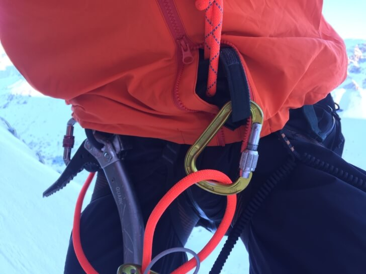 The Arcteryx Kappa Hoody's two-way zipper and snap closure make it easier and warmer to use a belay device.