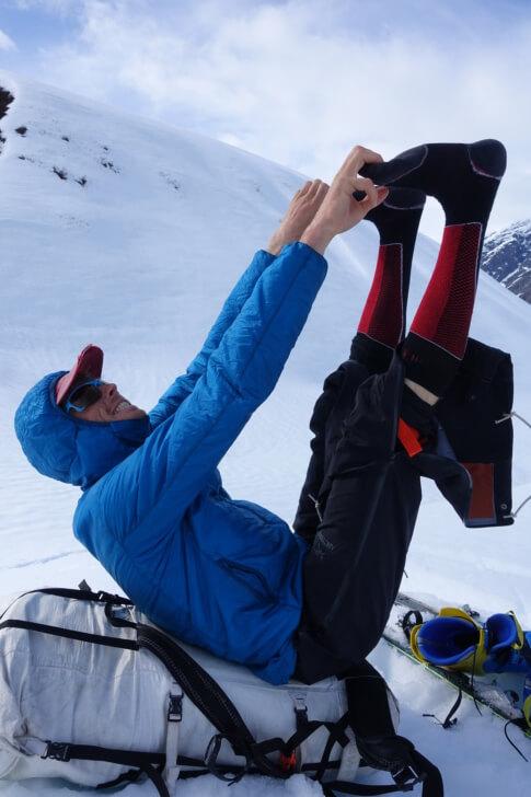 Max celebrating his escape from ski boots.