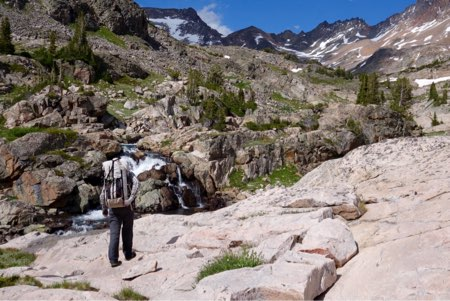 Trekking up the upper Sierra Creek drainage, a fantasy land of waterfalls and tundra.