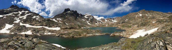 Sky Top Lakes with The Spires on the left, Cairn Mountain on the right, and Granite Peak in the distance.