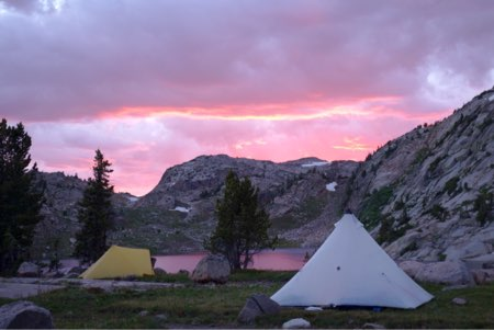 Sunset at our camp above Lake of the Winds.
