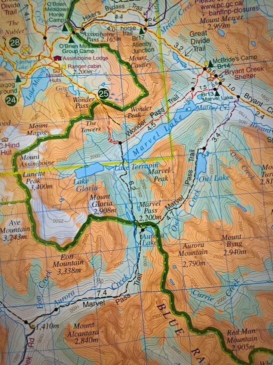 Mount Assiniboine Backpacking - route detail on the Banff area topographic map.