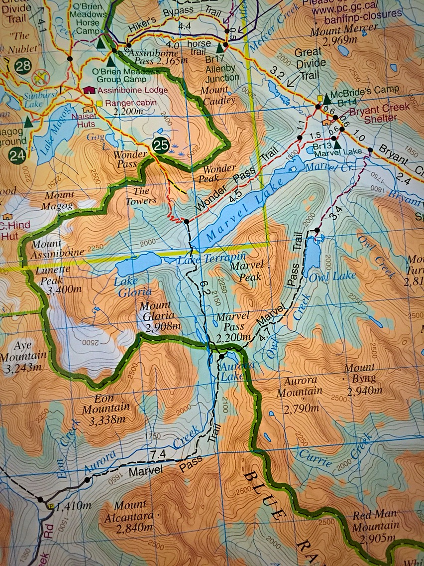 Assiniboine, Canada Map Mount Assiniboine Backpacking (Marvel Pass Trail): Part 1