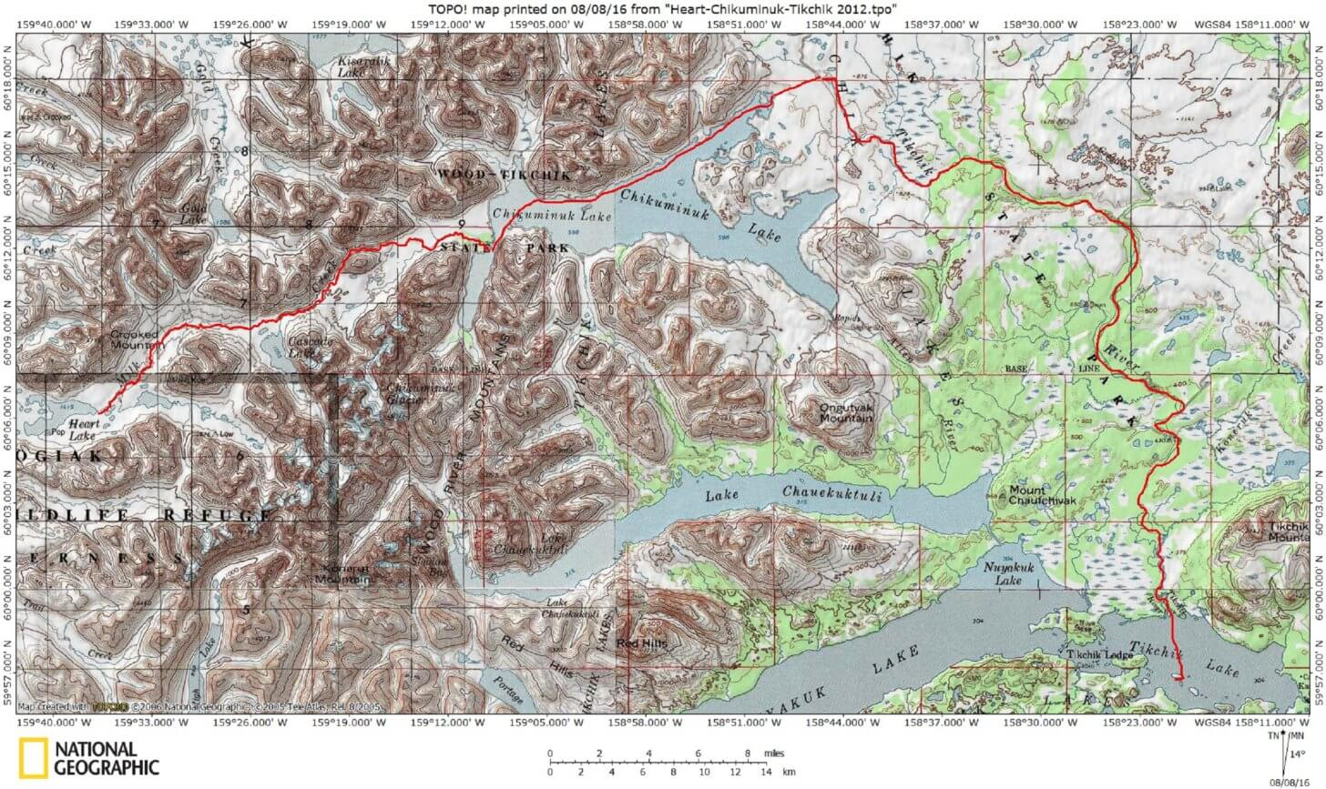 Packrafting Southwest Alaska: our route.