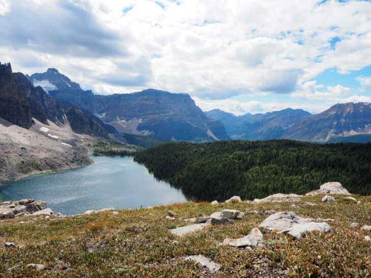 Backpacking Mount Assiniboine: Overlooking the lakes below is as stunning as sitting on their shores.