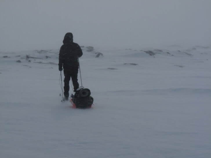 Hard wind and low visibility makes travelling difficult, but not always impossible. Joe Newton skis across the northernmost part of Europe, Norway's vast Finnsmarksvidda.