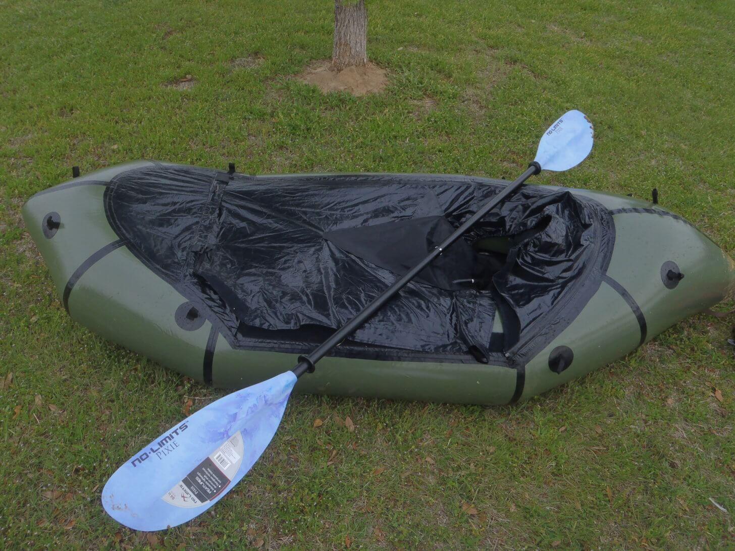 Packraft Reviews: An Alpacka raft with a Cruiser spray deck.