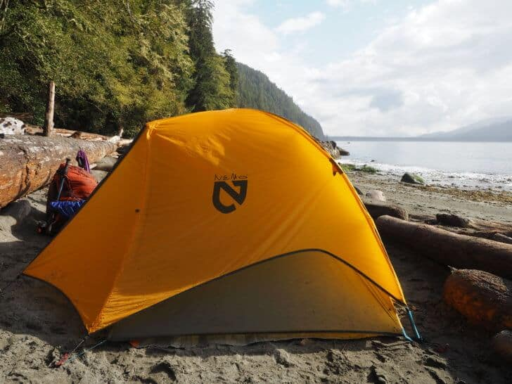 Nemo Equipment Blaze 2p Tent in the coastal rainforest of Canada's West Coast Trail.