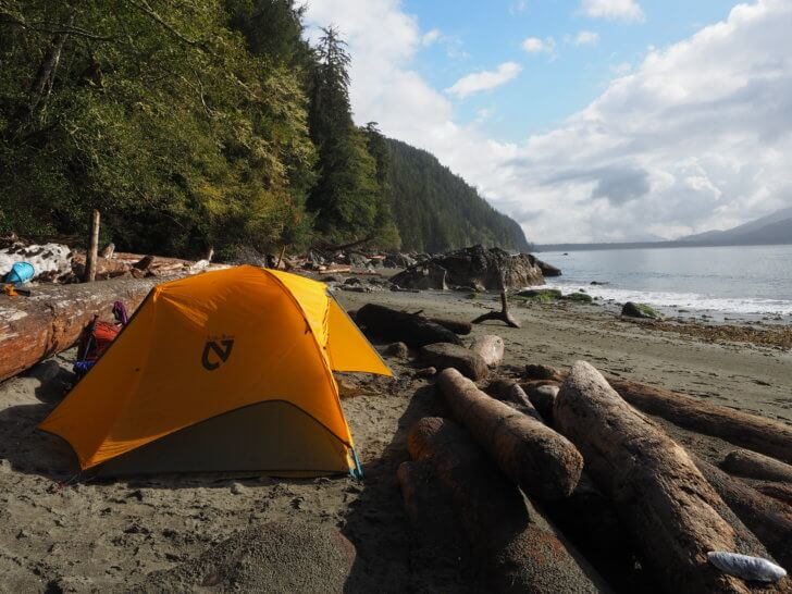 Keeping mice, sand fleas and rain out in a coastal rainforest is not an easy task. The well designed Nemo Equipment Blaze 2P Tent exceeded the expectations I made on it. Pictured at Thrashers Cove, Vancouver Island, British Columbia, Canada.