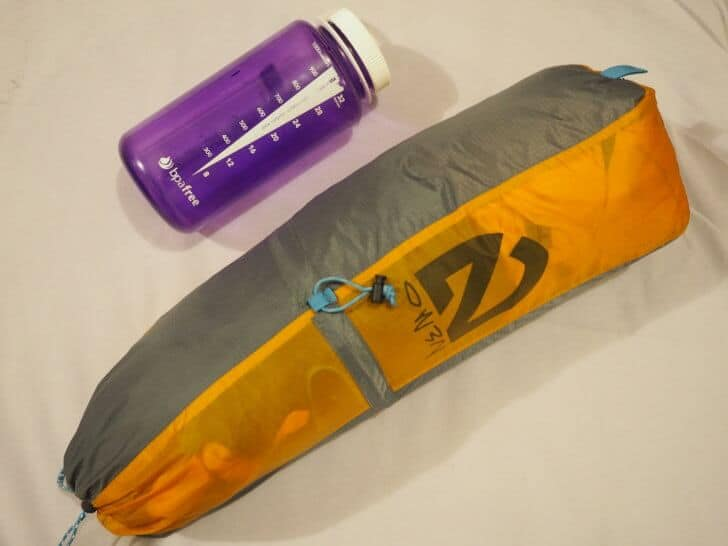 The entire Nemo Equipment Blaze 2P Tent compared to a 1 liter water bottle.