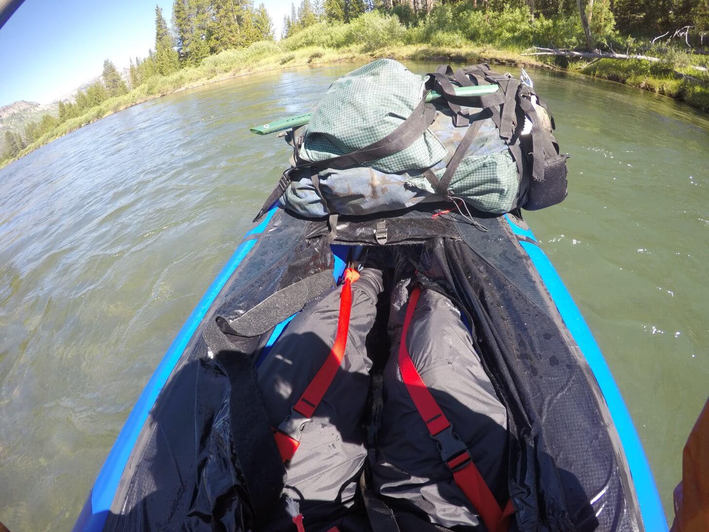 Packraft SOM Report: MYOG thigh straps inside an old Alpacka Raft.
