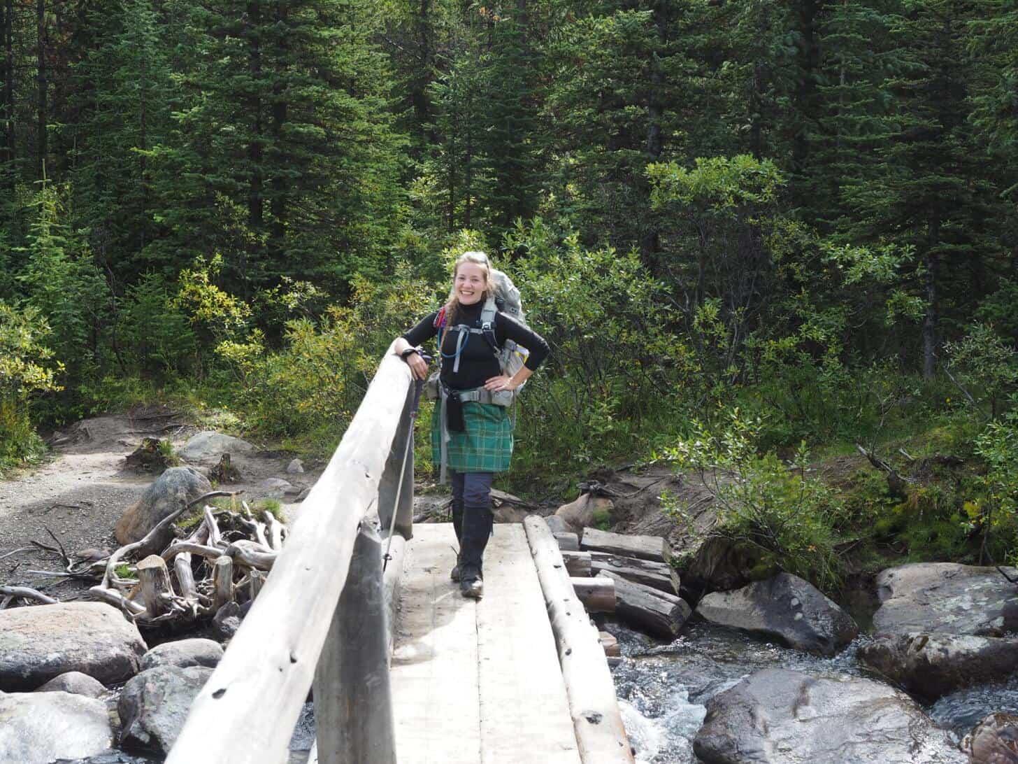 Skyline Trail:While crossing a bridge, I display the Sport Kilt Hiking Kilt I tested on the Skyline Trail.