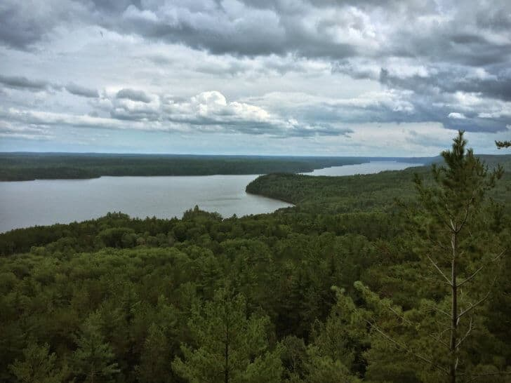 The stunning view from the Ottawa River Lookout, where the Ottawa River meets Lake Temiskamimg.