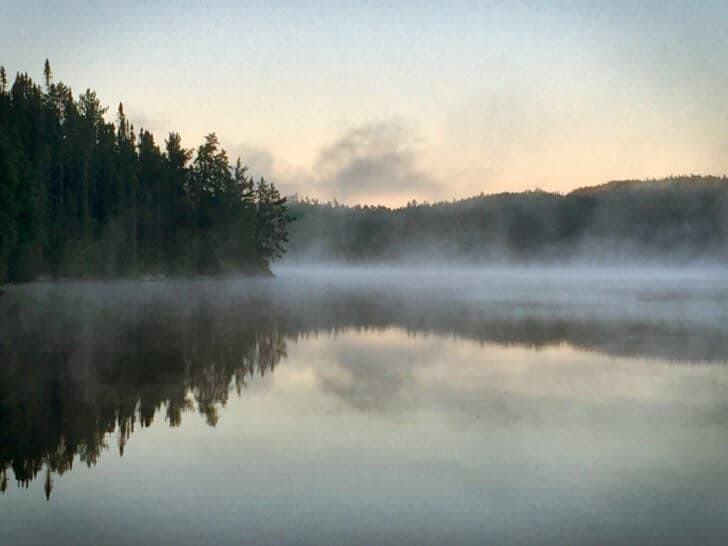 A misty morning sunrise on Gorrie Lake.
