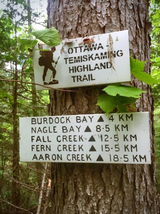 Hand painted signage on the trail.