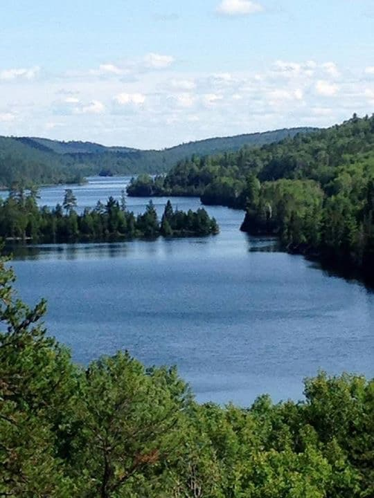 The view overlooking Temagami's vast wilderness from Singing Pine Lookout.