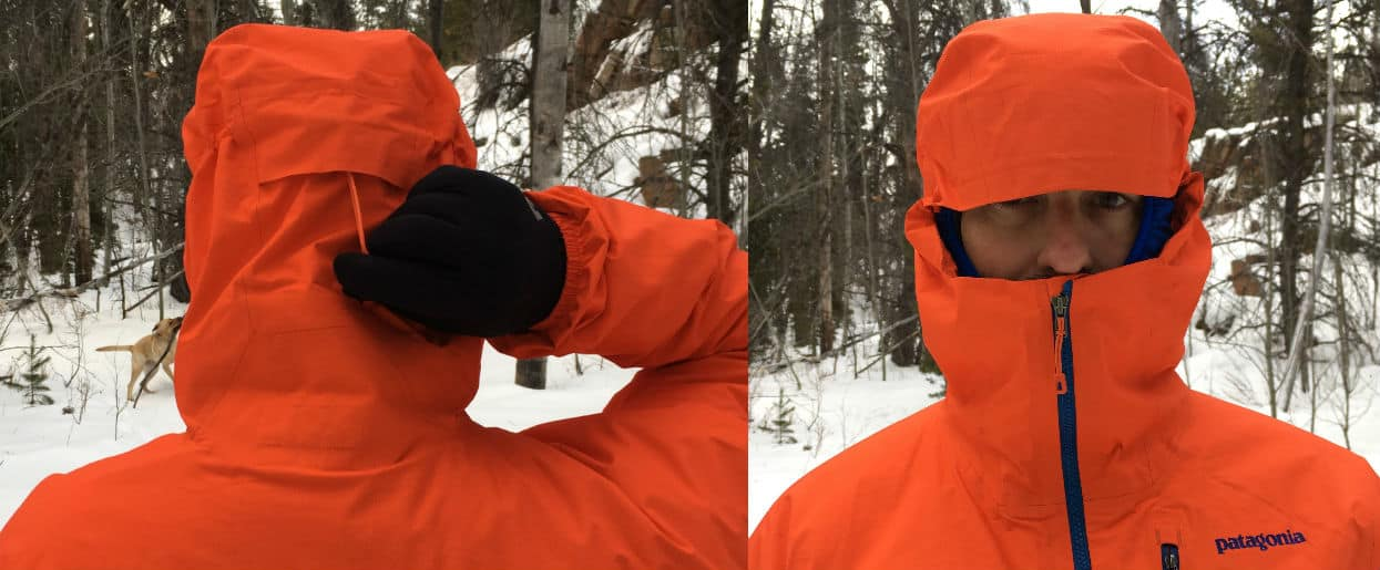 Patagonia M10 Anorak Review - front and back side hood detail.