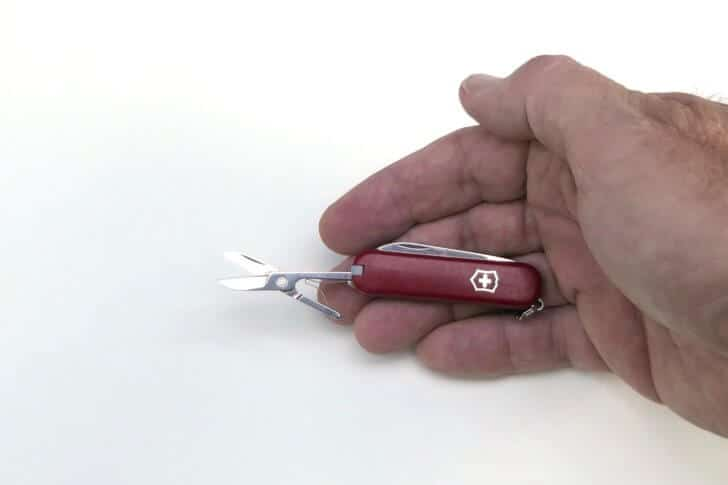 Victorinox Classic Swiss Army Knife in hand