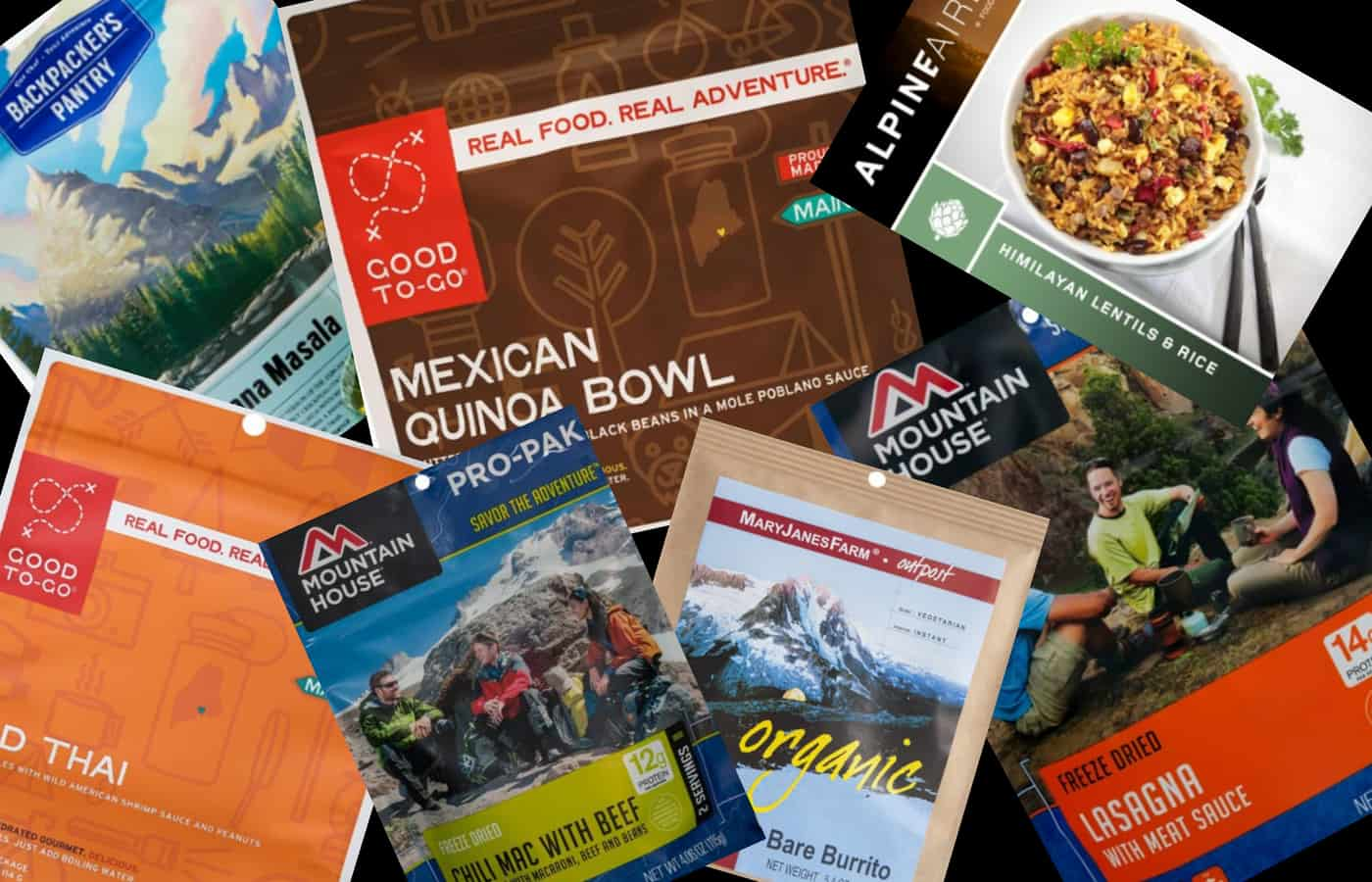 Dehydrated and freeze-dried backpacking dinners.