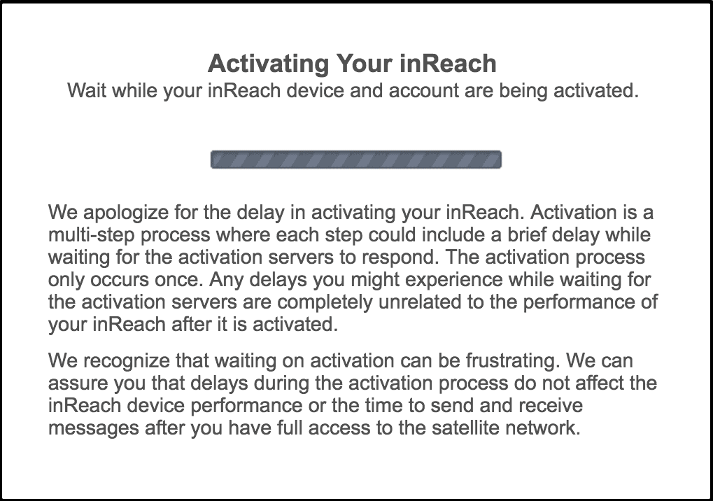 garmin inreach mini review activation screen 1