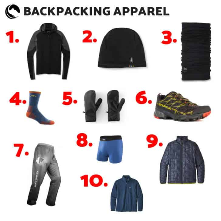 backpacking apparel