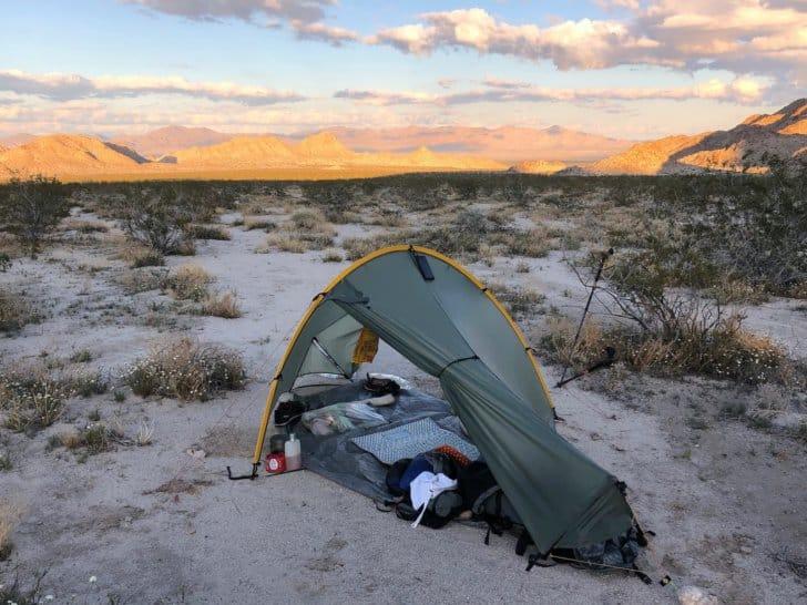 Moment in desert sunset