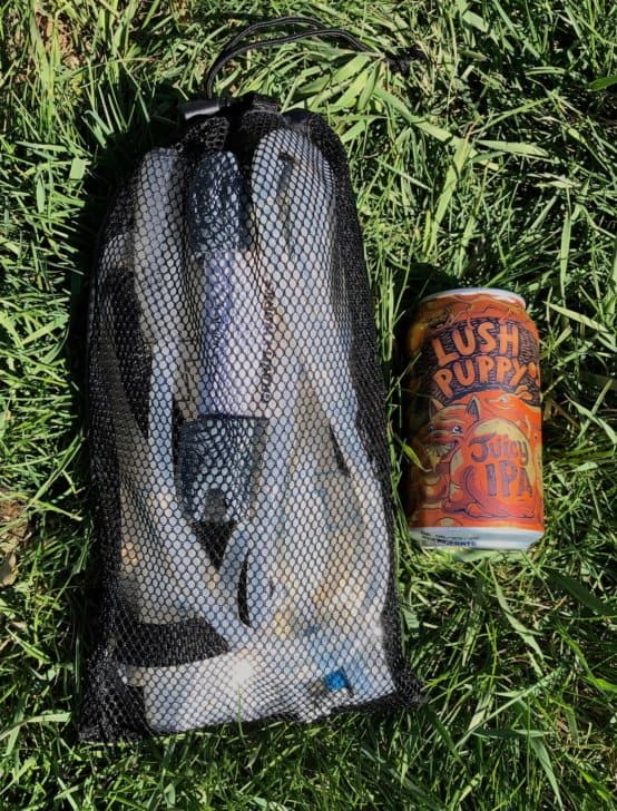 platypus gravity filter, packed in mesh bag
