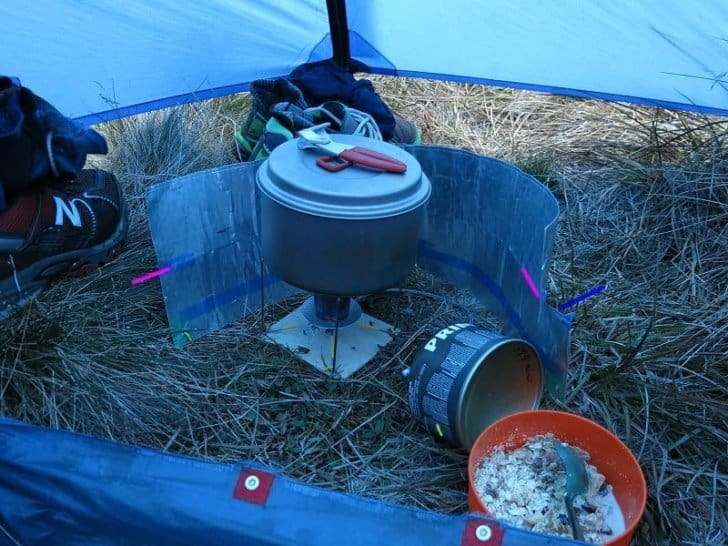 cooking in a vestibule with a v3 stove