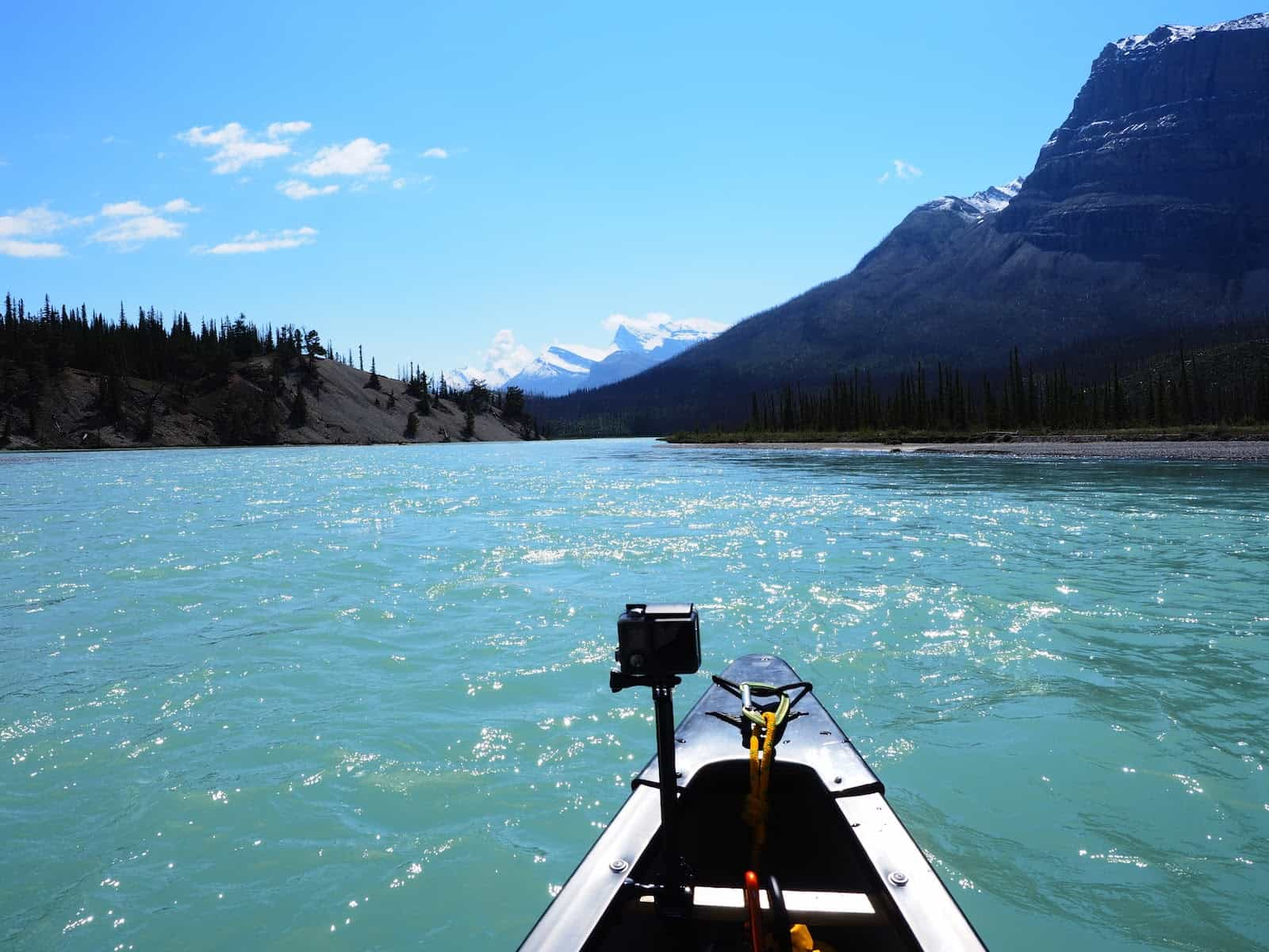 Nahanni River by Canoe: A GoPro attached to the front of a boat.
