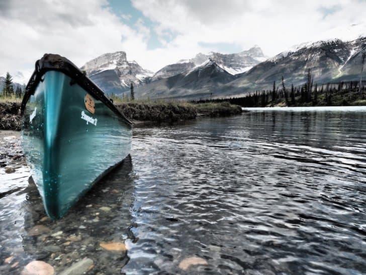 Nahanni River by Canoe: A Nova Craft Canoe on a lake.