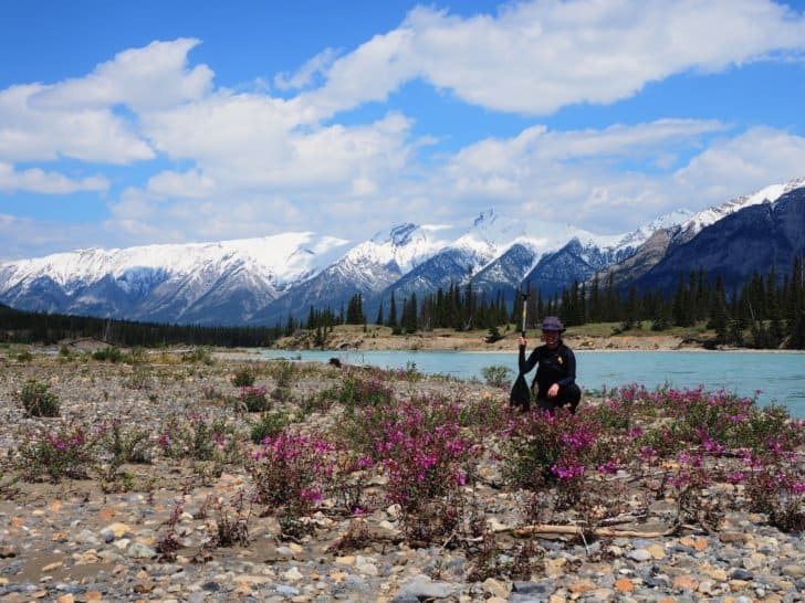 Nahanni River by Canoe: Paddler pulled out to a gravel bar