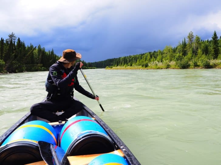 Nahanni River by Canoe: Thunderheads upstream of the paddlers.