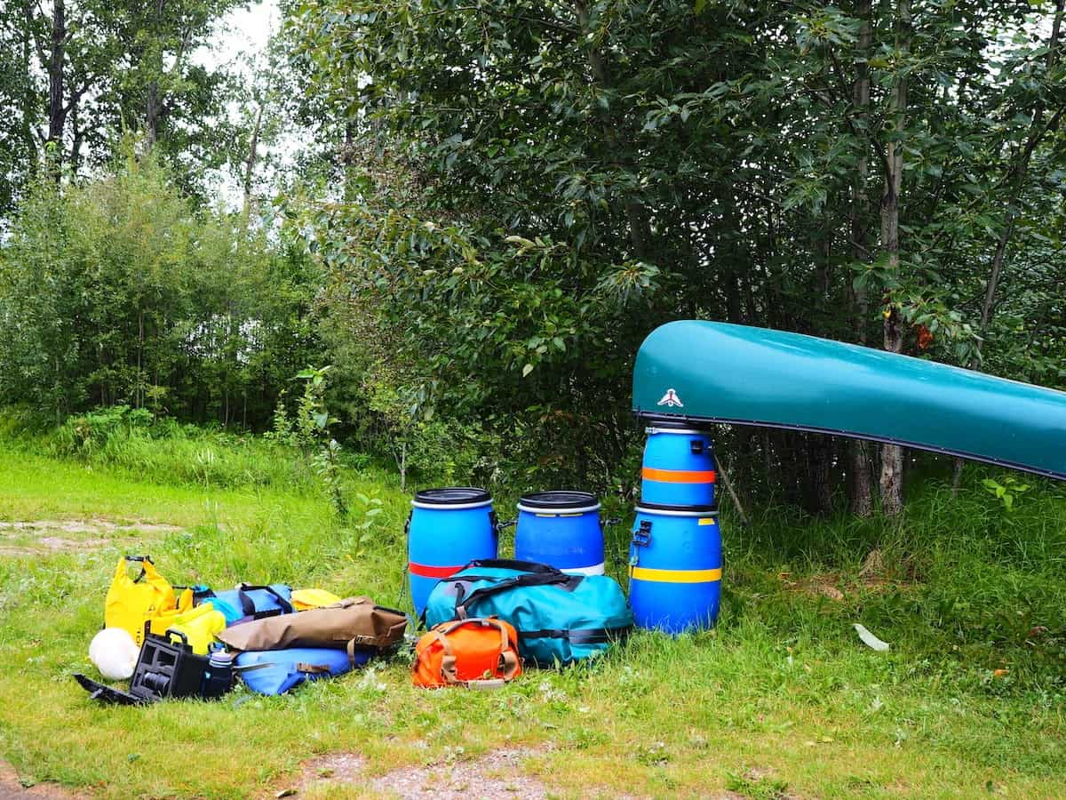 Nahanni River by Canoe: Gear unloaded from the truck