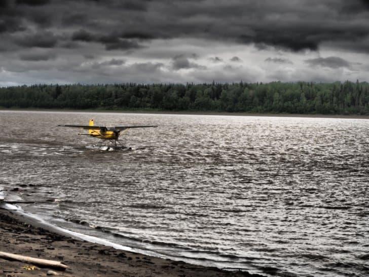 Nahanni River by Canoe: Cessna landing on the lake