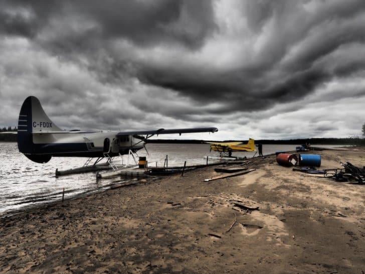 Nahhani River by Canoe: 2 seaplanes on the lake shore