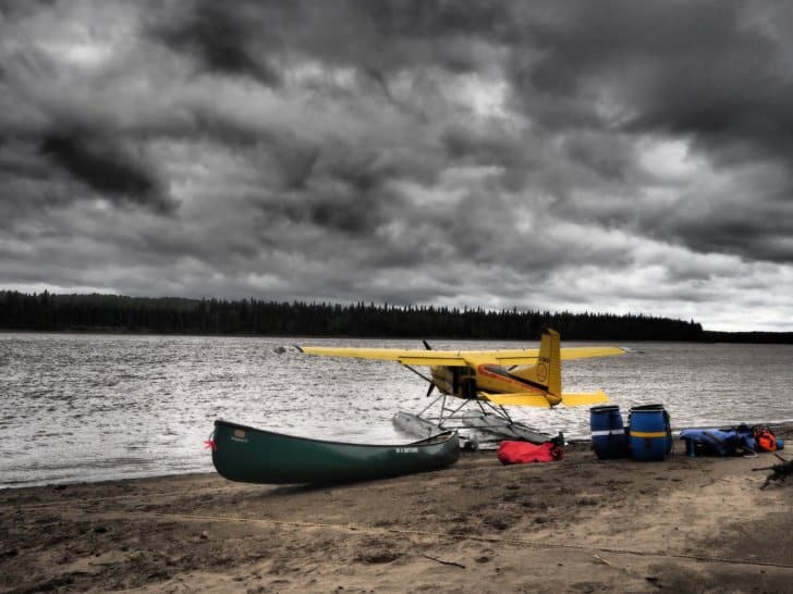Nahanni River By Canoe: gear around the seaplane